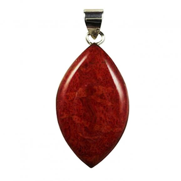 Pendentif argent et gorgone rouge en forme d'amande