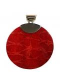 Très gros pendentif argent et gorgone rouge