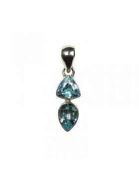 bijou double pendentif argent et topaze bleue