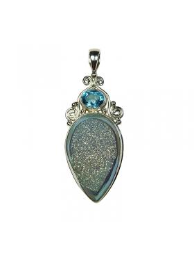 Pendentif argent et pierre fine originale: drussite bleue