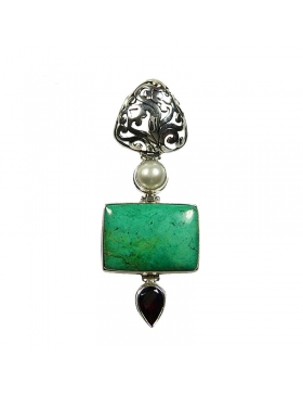 Pendentif turquoise grenat et perle de culture