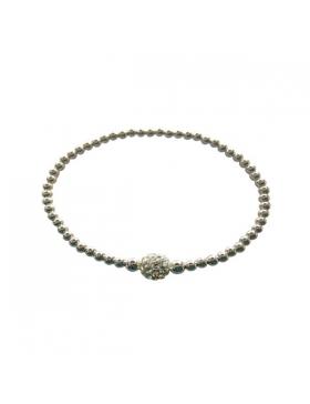 Bracelet strass et argent et strass blancs