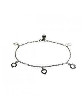 Bracelet breloque cœur et fleur - argent