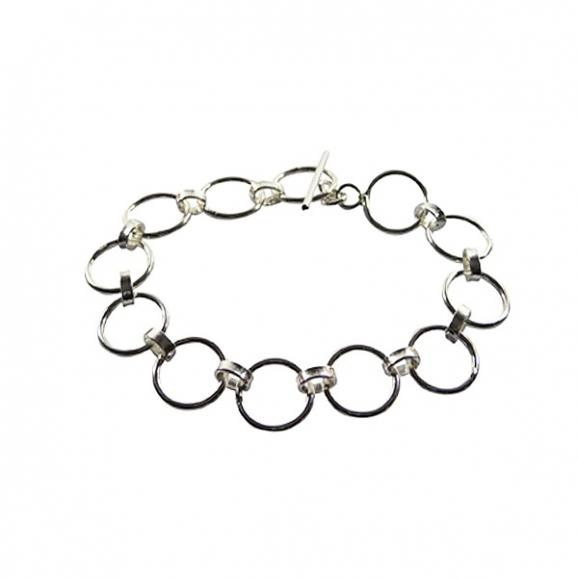 Bracelet argent avec anneaux