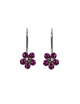 Fantaisie colorée rose fushia pour ces boucles d'oreilles argent et oxyde de zirconium.