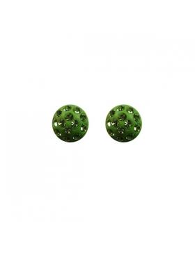 Demi-boules en boucles d'oreilles argent et oxyde de zirconium.