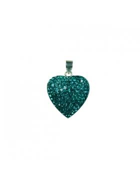 Bijoux oxyde de zirconium et argent en cœur turquoise.