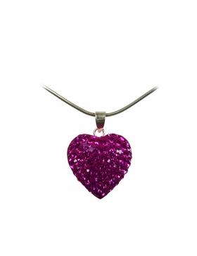Bijoux oxyde de zirconium et argent en cœur rose fushia.