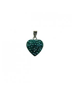 Petit cœur turquoise en oxyde de zirconium et argent.