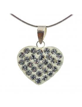 Joli pendentif blanc en oxyde de zirconium et argent-Saint-Valentin
