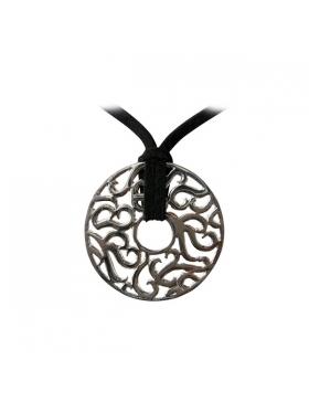 pendentif rond ajouré arabesques argent