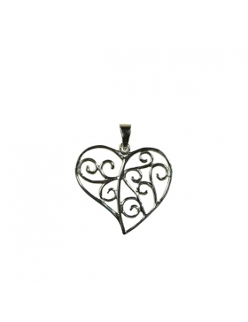 Pendentif forme coeur, argent - saint valentin - fete des meres