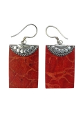 Boucles d'oreilles argent et gorgone rouge