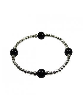 Bracelet argent élastique et pierres fines en onyx.