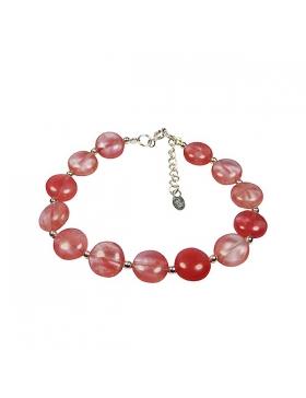 Bracelet pierre fine en cherry quartz et argent