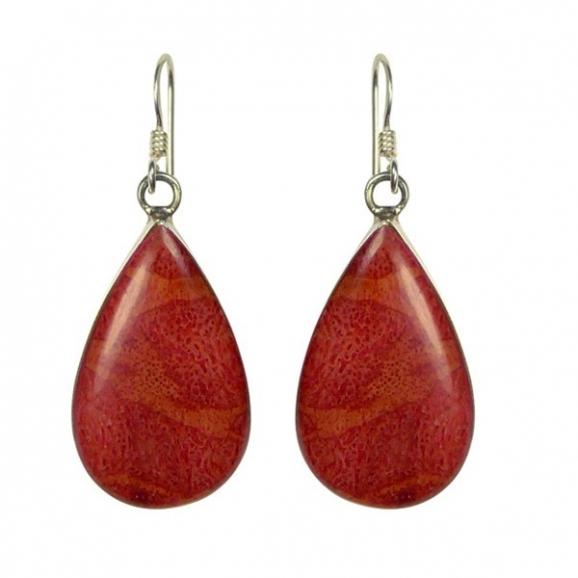 Boucles doreilles corail rouge et argent et corail en forme de gouttes