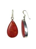 Corail - rouge - Boucles d'oreilles argent et corail en forme de goutte