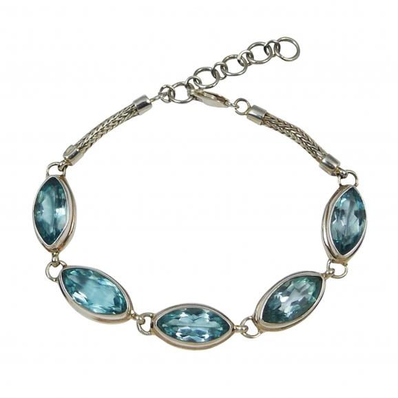 Bracelet topaze bleue, argent