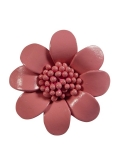 Broche Fleur - cuir - rose pale