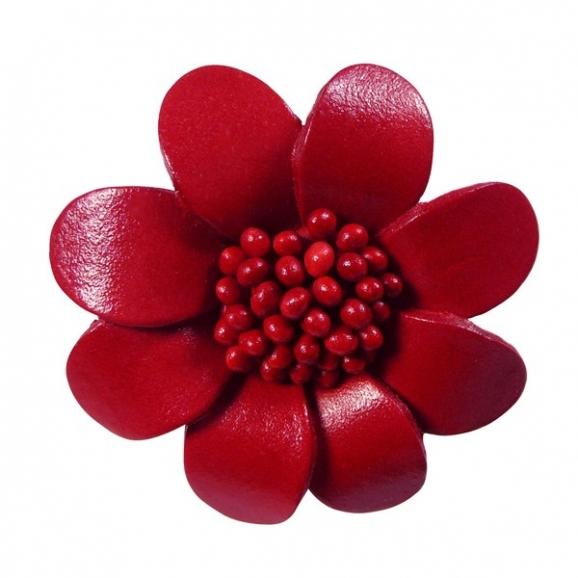 Broche fleur rouge - cuir