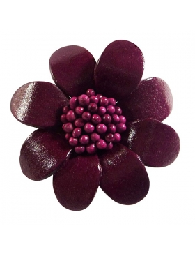 Broche mode en cuir - couleur prune