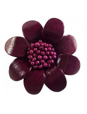 Broche mode en cuir - couleur prune