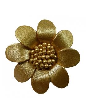Petite broche en cuir - couleur or