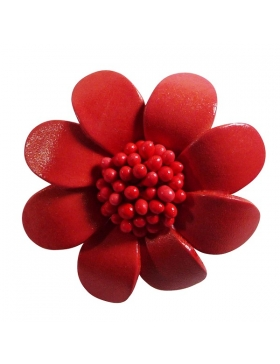 Broche en cuir - saumon - forme fleur