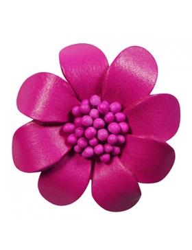 Broche cuir - Broche en cuir rose fuchsia