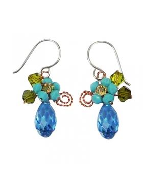 boucles d'oreilles fantaisies en cristal bleu