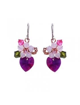Boucles d'oreilles en Cristal Autrichien rose bonbon