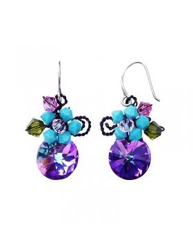 Boucles d'oreilles fantaisie en cristal multicolore