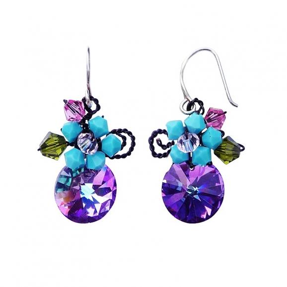 bijoux cristal boucles d 39 oreilles violettes. Black Bedroom Furniture Sets. Home Design Ideas