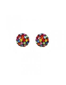 Boucles d'oreilles boules strass multicolore