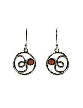 Boucle d'oreilles grenat - pierre rouge transparente et argent