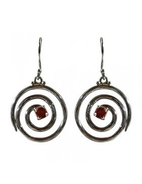 Bijoux boucles argent et grenat en spirales