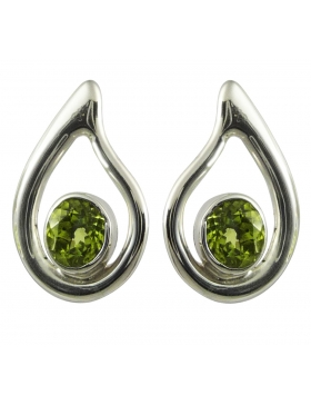 Boucles clous d'oreilles péridot vert