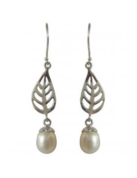 Boucles d'oreilles perle de nacre blanche et argent