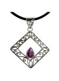 Pendentif améthyste losange - Reflets de bijoux