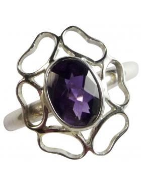Bague améthyste violette forme fleur