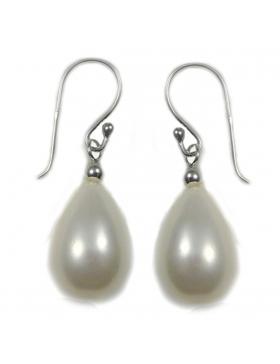Boucles d'oreilles perle de culture blanche argent