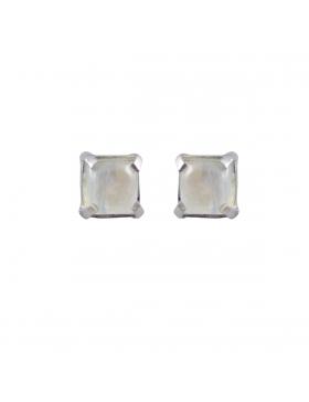 Boucles d'oreilles clous carrées en pierre de lune
