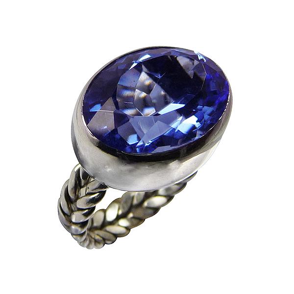 Bague quartz bleu de siberie