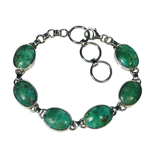 Bracelet six turquoises et argent