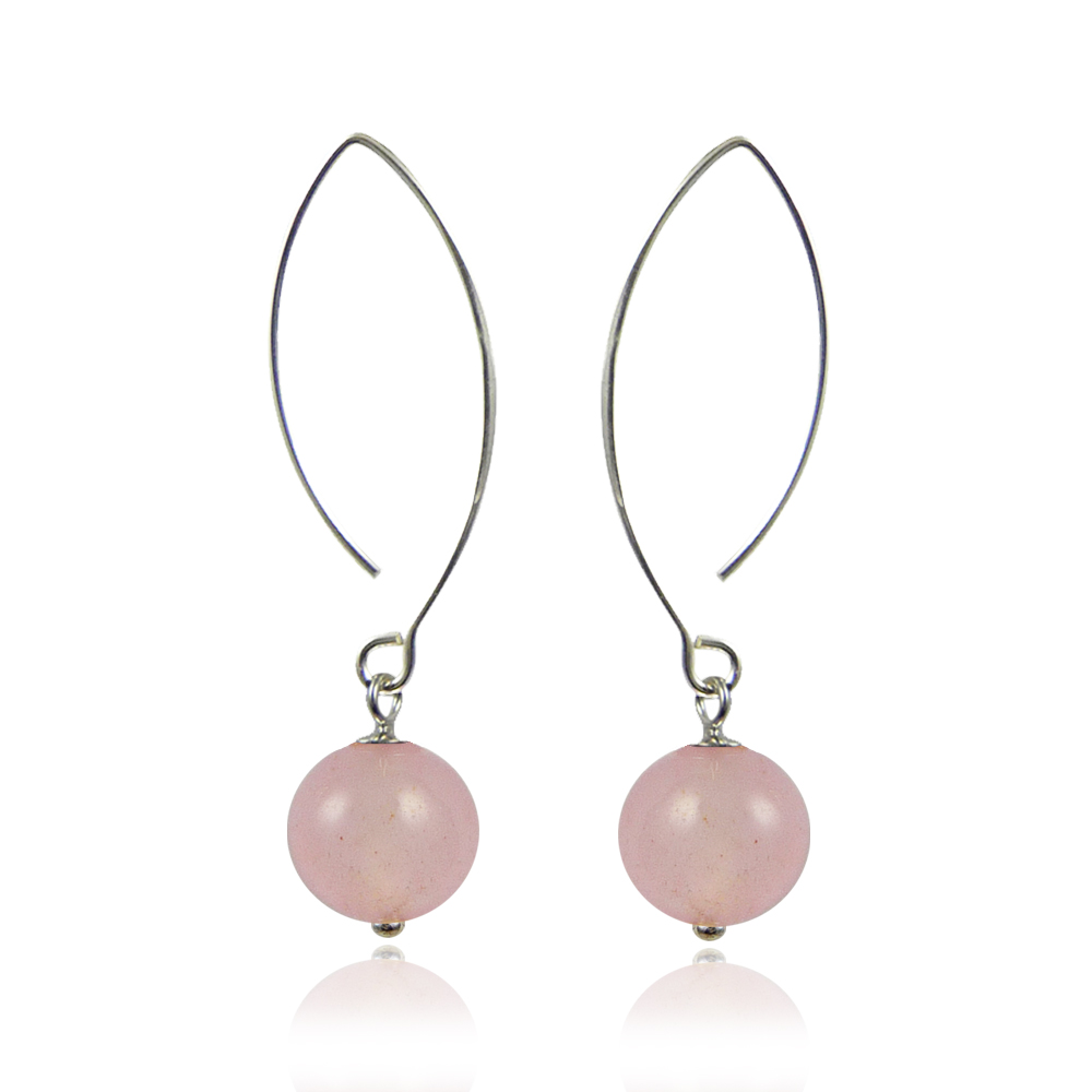 bijoux pierres fines boucles en quartz rose