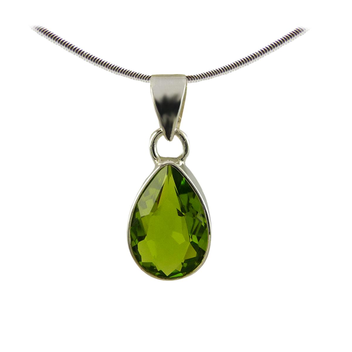 pendentif en pierre fine péridot vert